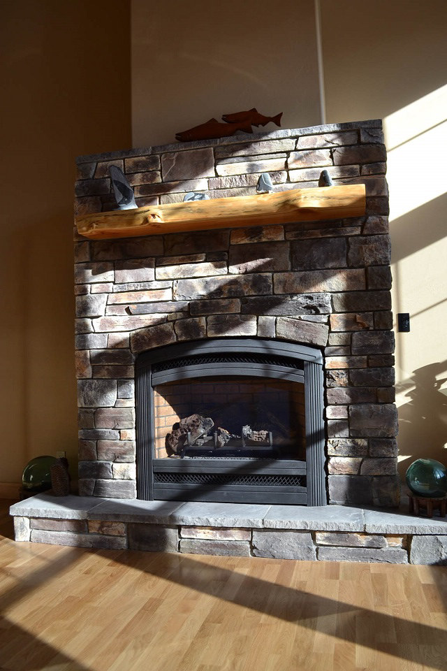 Cultured stone fireplace