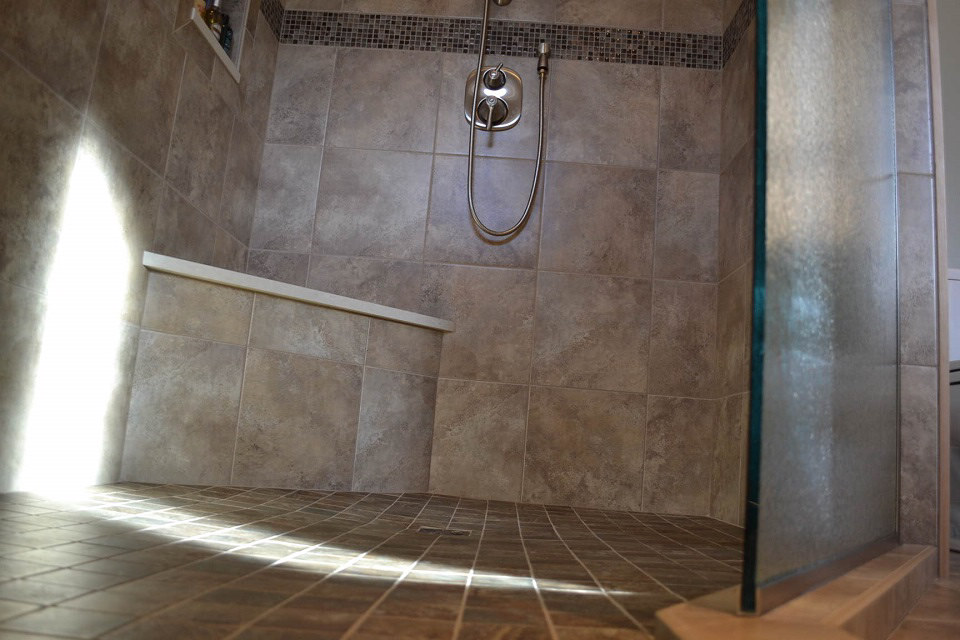 Huge master bath tile shower
